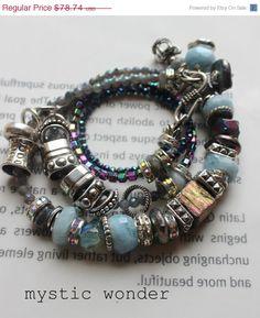 ON SALE chunky charm bracelet, aquamarine bracelet, wrap bracelet, multi strand bracelet, labradoortie bracelet