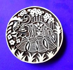 Elephant Large Round Hand Carved Wood Stamp by PrintBlockStamps