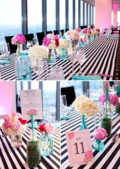 pink black and white stripes wedding Meg Miller Photography
