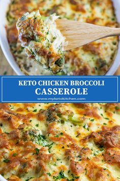 """keto dinner recipes This Keto Creamy Chicken Broccoli Casserole recipe is super easy to throw together. Its rich, """"Cheesy and Quick Dinner"""" for a weeknight feast! Broccoli Cheddar Casserole, Keto Chicken Casserole, Casserole Recipes, Potato Casserole, Healthy Dinner Recipes, Low Carb Recipes, Weeknight Recipes, Low Carb Chicken Recipes, Poulet Keto"""