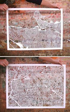 amazing. artist karen o'leary draws each map by hand before intricately cutting out the negative space.