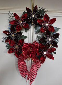 Christmas wreath using origami flowers