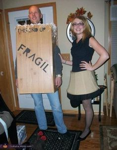 Find a friend and go as the leg lamp from A Christmas Story. | 33 Super Easy Cardboard Box Halloween Costumes For Lazy People