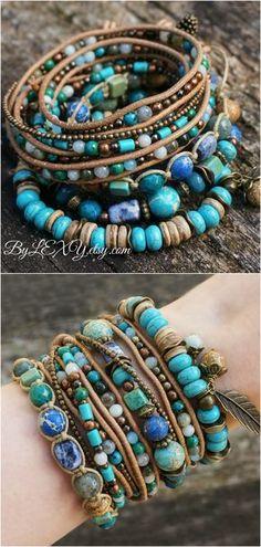 "Set of 4 Boho ""Ocean Treasures"" Stack Bracelets, Bohemian Rustic Beachy Gypsy Stack Stretch 3x Wrap Leather Jewelry Bracelets Gift ByLEXY #boho, #beach, #ocean, #bohofashio, #bohostye, #bohemianbracelet, #multistrandbracelet, #layerjewelry, #gypsysatck, #bohobracelets, #bohostack, #beachyjewelry, #beachbracelet, #setofbracelets, #armcandy"
