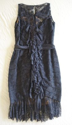 ~ AUTHENTIC CHANEL NAVY LACE RUFFLE SLEEVELESS DRESS (INSANELY SPECIAL!) F 38 #CHANEL #FORMAL