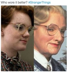 Doubtfire is Barb from Stranger Things after she comes back from The Upside Down. Funny As Hell, Funny Cute, Hilarious, Stranger Things Funny, Barb From Stranger Things, Stranger Things Upside Down, Marvel, Best Shows Ever, Make Me Smile