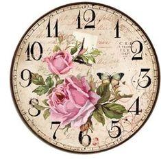 DECOPAULA                                                                                                                                                                                 Más Decoupage Vintage, Decoupage Paper, Shabby Vintage, Vintage Paper, Vintage Flowers, Clock Craft, Diy Clock, Clock Face Printable, Fancy Watches