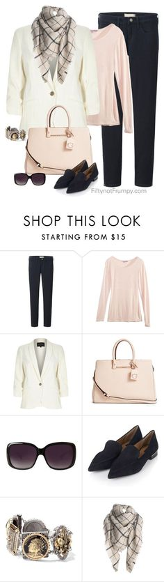 """""""Black and Blush"""" by fiftynotfrumpy on Polyvore featuring Uniqlo, Calypso St. Barth, River Island, GUESS, Merona, Topshop and Sweet Romance"""