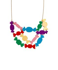 Sweet Wrapper Necklace - Indulge your sweet side with the Sweet Wrapper Necklace. A chocolate box of coloured wrappers are laser cut and hand linked together in eye-catching jewel tones. Forget the novelty jumper, layer this necklace over your LBD for a fashionably festive look this yuletide > http://www.tattydevine.com/sweet-wrapper-necklace