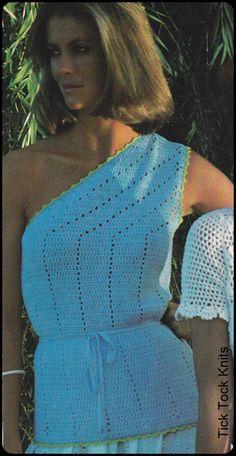"No.211 PDF Vintage Crochet Pattern Women's One-Shoulder Top Picot Stitch Edging - Retro Crochet Pattern - Instant Download - 32"", 34"", 36"" on Etsy, $3.50"