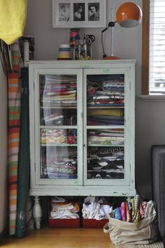 Creative Workspace – Gerty Brown Trading Vintage cabinet full of fabric