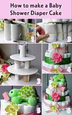 Cómo hacer una torta con pañales