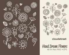 buy 2 get 1 free Hand drawn flowers clipart ( doodle flower clip art ) vector illustration
