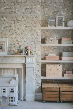 Interior design for a girls bedroom in soft grey and pink, featuring floral wallpaper, a vintage wardrobe and school desk, and a four poster bed. Scandinavian Interior Design, Room Interior Design, Kids Room Design, Room Kids, Interior Paint, Boy Room, Pink Bedroom For Girls, Little Girl Rooms, Girl Bedrooms
