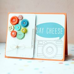 MME #card by Lea Lawson - stitch some buttons on the balloons - brilliant!