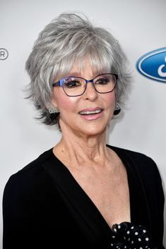 Rita Moreno - Classy Hairstyles For Gray Hair - Photos Sophisticated Hairstyles, Classy Hairstyles, Mom Hairstyles, Celebrity Hairstyles, Hairstyles 2018, Jane Fonda Hairstyles, Oval Face Hairstyles, Modern Hairstyles, Short Hair Cuts For Women