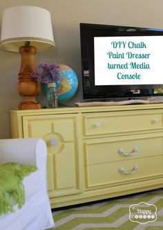 DIY Chalk Paint old dresser turned TV Cabinet with full tutorial at thehappyhousie