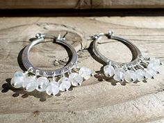 Rainbow Moonstone and Sterling Silver Hoop Earrings ** Want additional info? Click on the image.