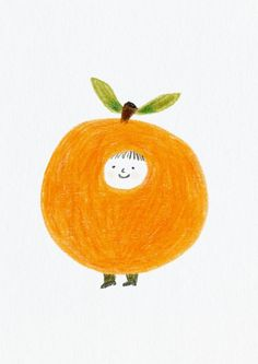"""Little Orange print This is a Glicée print, printed with pigment inks on acid free, warm white, very light textured 200g fine art paper. --Small Print: The print measures 8.3"""" x 11.7"""" (21 x 29.7 cm/A4) including a white border for framing. Print without border measures about 6.3 x 8.9 (16 x 22.6"""