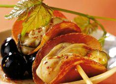 Brochette d'huîtres au jambon de Bayonne et piment d'Espelette