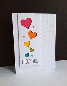 Valentine's Card cascading hearts