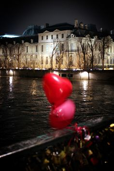 Paris, Saint Valentin....(Love locks at night on Valentine's Day) - by Calinore