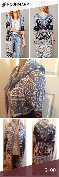 Free People Americana Hooded Cardigan Red, white and blue patchwork patterned maxi cardigan. Attached hood. One clasp closure in the front. Small slit at each bottom side. Still in excellent condition - no flaws or piling   *76% Cotton, 12% Acrylic, 8% Linen, 3% Wool, 1% Polyester *Machine Wash Cold Free People Sweaters Cardigans