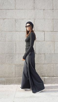 SALE NEW Loose Black Pants / Wide Leg Pants /Extravagant Trousers Side Pockes / Belt Button and Zipper waistline /HandMade by Aakasha Shop By Outfit, Wide Leg Pants, Black Pants, Black Women Fashion, Womens Fashion, Fashion Edgy, Fashion 2018, Fashion Vest, Cheap Fashion