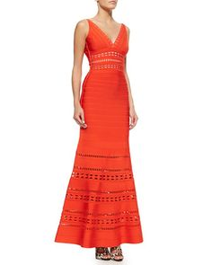 Kaiya Cutout Bandage Mermaid Gown, Vermillion by Herve Leger at Neiman Marcus.