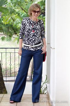 Blue sailor pants with black and white patterned top