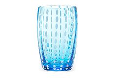 Zafferano | S/2 Large Perle Glasses, Aqua | Vertical stripes of pearly dots grace the sides of this mouth-blown glass tumbler, adding a playful yet elegant pattern and dimensionality. Made in Italy | 80.00 retail
