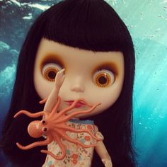 frank is unamused with the wee octopus on her arm... #blythe