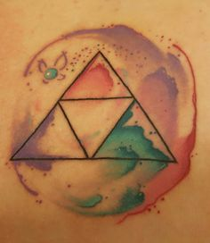 Zelda triforce watercolor tattoo