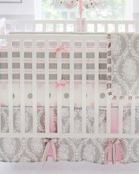 Olivia Rose 3pc Crib Bedding Set Gorgeous baby girl damask in pink and grey.