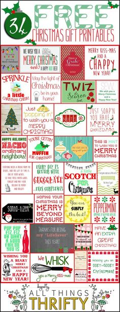 34 FREE Christmas Gift Tag Printables from All Things Thrifty -- Tatertots and Jello