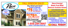 Pace Windows is having a Fall sale with major savings!  Save on window and door work. Rochester, NY