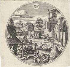 Adriaen Collaert | Juni, Adriaen Collaert, Hans Bol, Hans van Luyck, 1578 - 1582 | Ronde lijst met een stadsgezicht met zomertaferelen.Juni is de scheermaand. Centraal staat het wassen en scheren van de schapen en het sorteren van hun wol. Middenboven het sterrenbeeld Kreeft. De prent is deel van een twaalfdelige serie over de twaalf maanden.