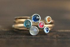 Two Gemstone Double Birthstone Adjustable Stacking by palefishny