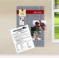 Give your loose papers, favorite photo, task reminders and important information a fun and centralized location to land with our fantastic personalized magnet boards. Measuring 11 x 17 and featuring a dry erasable cover, our boards are the perfect size to fit above a desk, on a kitchen cabinet, refrigerator or room door. Our designs will give any wall a personality and order.
