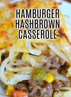 Hotdish Recipes, Beef Casserole Recipes, Meat Recipes, Cooking Recipes, Yummy Recipes, Chicken Recipes, Hashbrown Hamburger Casserole, Ground Beef Casserole, Chili Cornbread Casserole