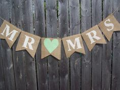 Ivory MINT Green MR MRS Burlap Banner Bunting Photo Prop Sign Garland Rustic Country Chic Wedding Reception