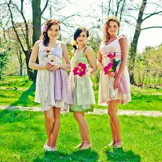 Custom bridesmaids dresses upcycled by BehindTheSevenSeas on Etsy