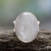 Rainbow moonstone cocktail ring, 'Radiant Light' - Rainbow Moonstone Cocktail Ring Artisan Silver Jewelry