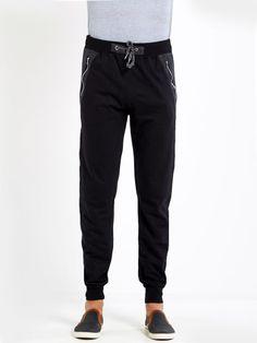 Solid Black Cotton Jogger