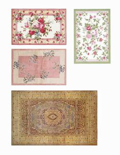 Well if yesterdays pillows and towels worked.then today's rugs should also :) After I printed these off on fabric paper, I cut them . Dollhouse Design, Diy Dollhouse, Dollhouse Miniatures, Fabric Paper, Paper Art, Paper Crafts, Miniature Furniture, Dollhouse Furniture, Yule Crafts