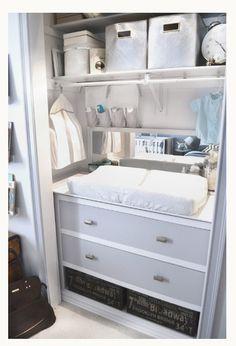 Transform a closet into a baby-care hub.