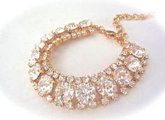 Gold crystal bracelet  Statement bracelet  by QueenMeJewelryLLC