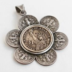 """Necklace made from Coins - Flower, US Dimes and Dollar Coin, """"Liberty Blossom Necklace"""", Coin Jewelry on Etsy, $149.95"""