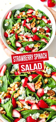 Strawberry Spinach Salad - light, healthy, easy to make and delicious salad made with just a few simple ingredients+Sugar-free option. Baby Spinach Salads, Spinach Salad Recipes, Easy Salads, Healthy Salad Recipes, Diabetic Recipes, Healthy Meals, Healthy Eating, Dairy Free Salads, Potluck Salad