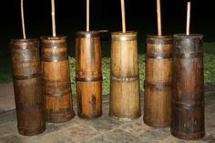 A Fine Collection of Antique Butter Churns!  Wood.